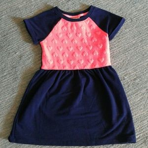 Cat & Jack size 4t blue and pink heart dress